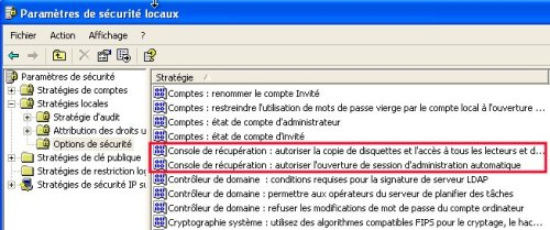 Stratégie de sécurité locale: suppression restrictions console